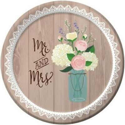 Bridal Shower Paper (Rustic Wedding 7 Inch Paper 8 Pack Plates Bridal Shower)