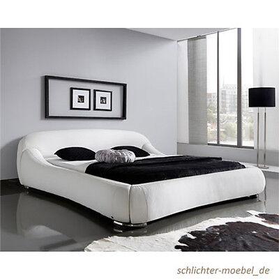 PICASSO Polsterbett Kunstlederbett Bett Designerbett Futonbett 160x200 Weiß