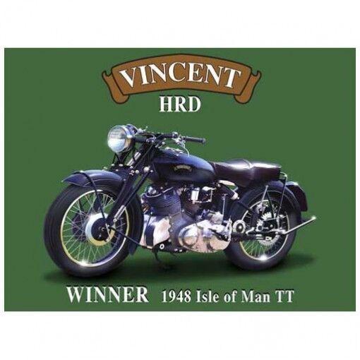 Vincent HRD Motorcycle 1948 Isle of Man TT Metal Sign