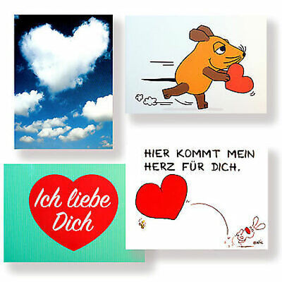 Postkarten mit Herz Postkarte Karte für Valentinstag Hochzeit Geburtstag Liebe (Valentinstag Für Kinder)