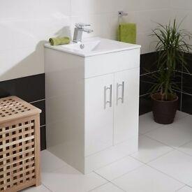 BRAND NEW IN BOX ASPEN 50 WHITE GLOSS VANITY UNIT FROM BETTER BATHROOMS RRP £135