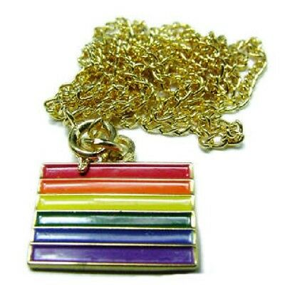 Gay Pride Flag Enameled Pendant with Gold-Tone Chain   (po10) (Gold Enameled Flag Pendant)