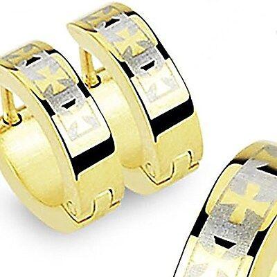Iron Cross Earrings - Gold Plated Stainless Steel Iron Cross Huggie Hoop Earrings