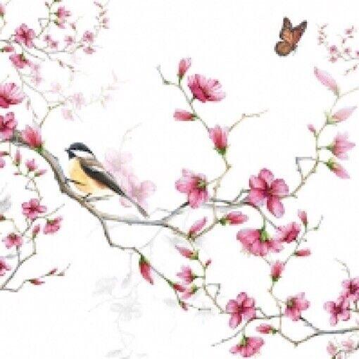 4 x paper napkins for decoupage, crafts, scrapbooks - Birds & Blossom
