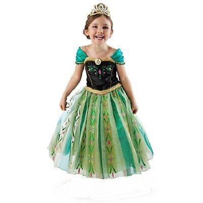 DeLuXe~ANNA~CORONATION CoStUmE + GOLD RhiNeStOnE~TIARA~Frozen~NWT~Disney - Coronation Anna Kostüm