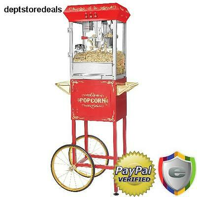 Commercial Antique Retro Style Popcorn Popper Maker Machine Movie Home Shop Cart