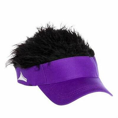 FLAIR HAIR HATS WITH HAIR PURPLE VISOR BLACK HAIR QUALITY SURF SKATE SNOW - Golf Visor With Hair