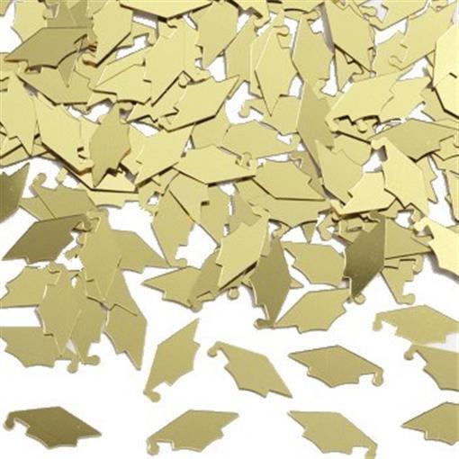 Graduation Gold Mortarboard Confetti 1/2 oz Bag Foil Grad Table Decoration