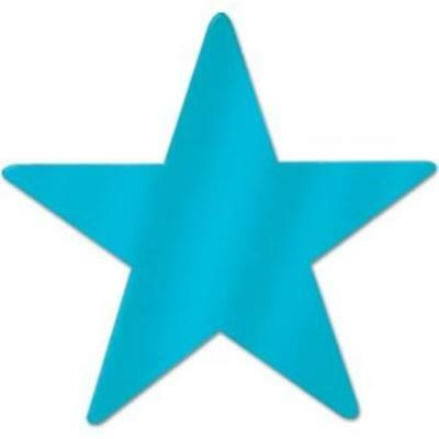 Metallic Star Cutouts Turquoise 12 Pack Party Supplies And - Turquoise Party Decorations
