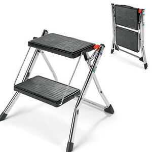2 Step Ladder Stool Polder Slim Line Folding Steel Frame