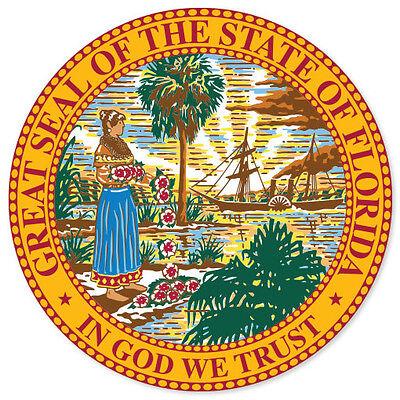 Florida State Seal Flag Bumper Sticker Decal 4  X 4