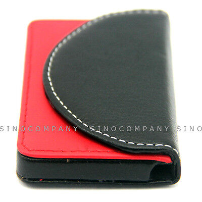 Black Red Leather Business Credit Id Card Holder Case Wallet Mens Xmas Gift C98