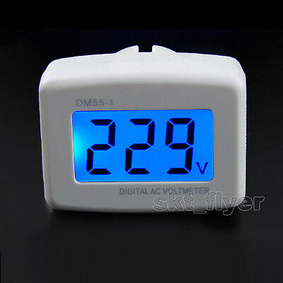 Blue Lcd Digital Voltage Volt Meter Ac 110-300v Us Style Plug 110v 220v