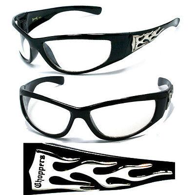 Hot-choppers (HOT CHOPPERS Biker Sunglasses Wrap Around Clear Lens UV400)