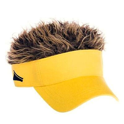 FLAIR HAIR HATS WITH HAIR YELLOW VISOR BROWN HAIR QUALITY SURF SKATE SNOW - Golf Visor With Hair