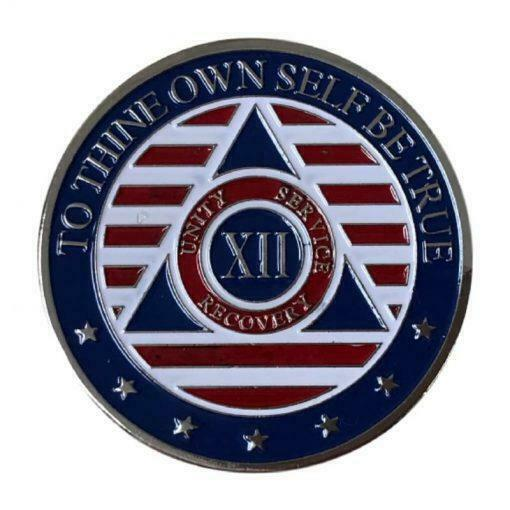 12 Year Patriotic Stars and Stripes AA/NA Recovery Medallion - Red/White/Blue