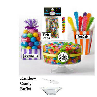 Multi Candy Buffet, Gum Balls, Sixlets,TwistyPops, Rock Candy, Free Bowl & Scoop