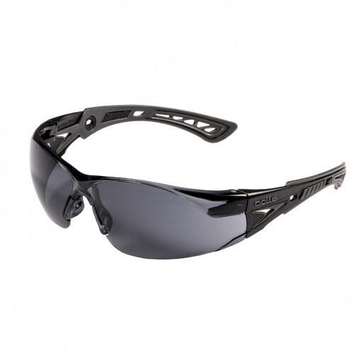 Bolle Rush Plus Small Safety Glasses Black//Yellow Temples Smoke Anti-Fog Lens