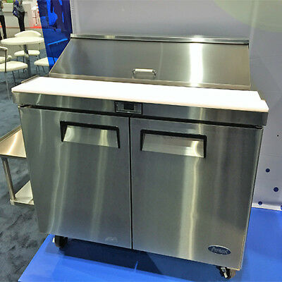 New 48 2 Door Commercial Salad Sandwich Refrigerator Prep Table Cooler Casters
