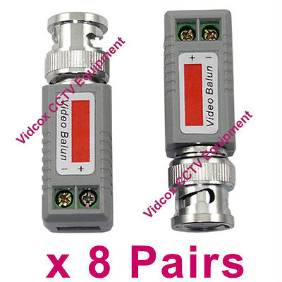 8 Pairs Passive CCTV Video Balun Coaxial BNC to Cat5/6 UTP Cable CCTV Camera DVR