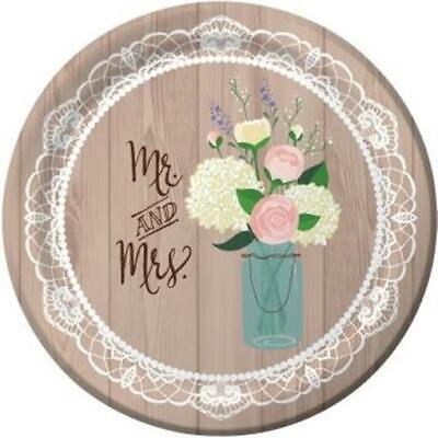 Rustic Wedding 10.25 Inch Paper Plates Bridal Shower 8 Per Pack