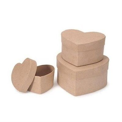 "Set of 3 Paper Mache Stacking Nesting  Heart Boxes - 4"", 5"" & 6"" ~ 652695465543"