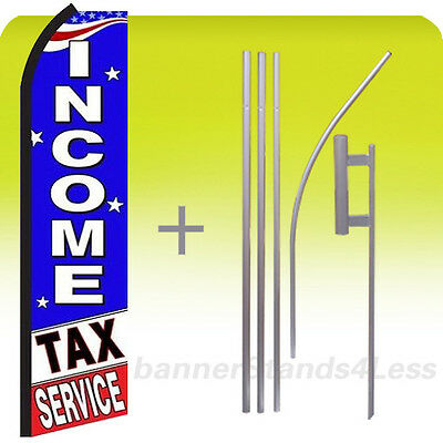 Income Tax Service - Feather Flutter Swooper Tall Banner Sign Flag 15 Kit Bz