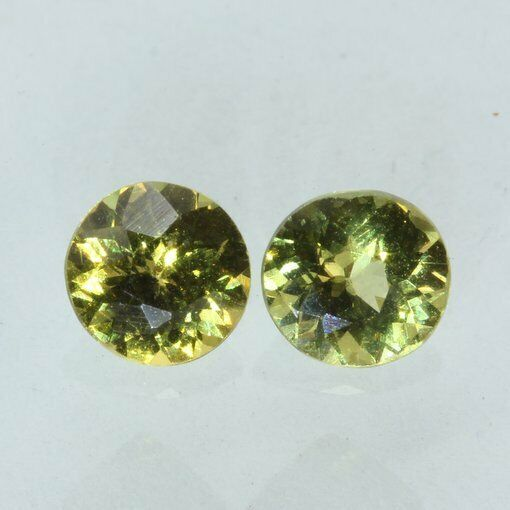 Pair Mali Garnet Yellowish Green Grossular Grandite 5 mm Rounds 1.11 carat total