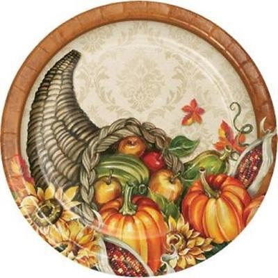 Harvest Cornucopia 7 Inch Plates Plates 8 Pack Fall Thanksgiving Party Decor