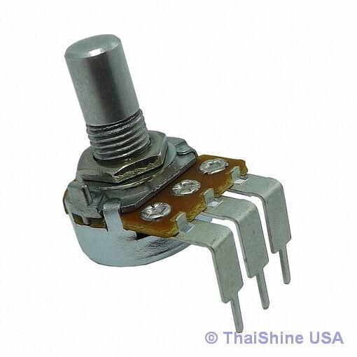 2 x 10K OHM Logarithmic Taper Potentiometer Round Shaft PC Mount - USA Seller