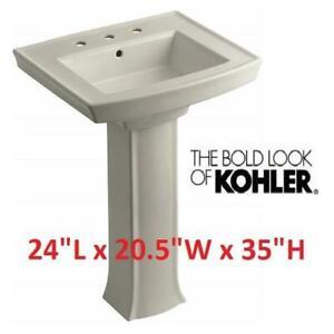 NEW ARCHER PEDESTAL BATHROOM SINK K-2359-8-G9 249282591 KOHLER WITH 8 CENTER SANDBAR 2 BOXES