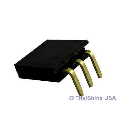 10 pcs 3 Pin 2.54 mm Single Row Ringht Angle Female Pin Header - USA Seller
