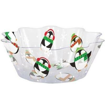 Penguins Clear 8 Inch Plastic Serving Bowl Christmas Winter - Clear Plastic Bowl