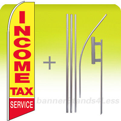Income Tax Service - Feather Flutter Swooper Tall Banner Sign Flag 15 Kit Yb