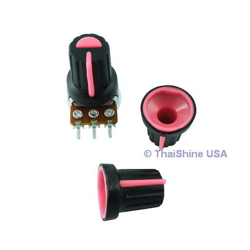 5 x Black Knob with Pink Pointer - Soft Touch - USA Seller - Get It Fast
