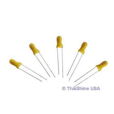 5 X 1uf 50v Radial Tantalum Capacitor - Usa Seller - Free Shipping