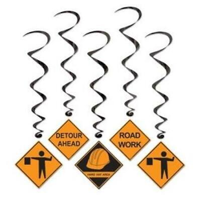 Construction Party Signs (Construction Hanging Sign Whirls 5 Pack Boy Birthday Prop Party)