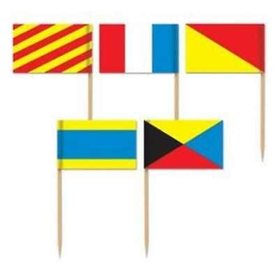 Flag Picks (Nautical Flag Picks 50 Pack Nautical Cruise Party Birthday)