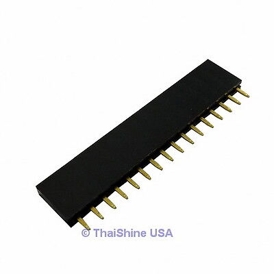 10 X 16 Pin 2.54mm Single Row Female Pin Header - Usa Seller - Free Shipping