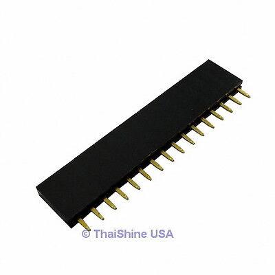 10 x 16 Pin 2.54mm Single Row Female Pin Header - USA Seller - Free Shipping