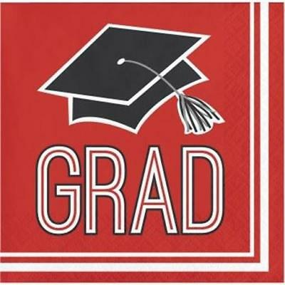 Graduation School Spirit Red Beverage Napkins 36 per Pack  - Graduation Napkins