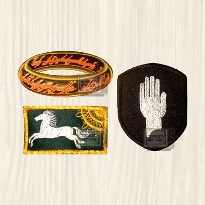 LOTR Patches Set Tolkien Rohan Flag Saruman Hand Lord of the Rings