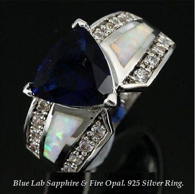 8 Lab White Sapphire Ring - Sz: 6,7,8,9,10 BLUE LAB SAPPHIRE & WHITE FIRE OPAL SILVER RIng