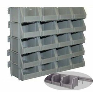 20 grey wall mount plastic parts storage bins with wall mounting rails ebay. Black Bedroom Furniture Sets. Home Design Ideas