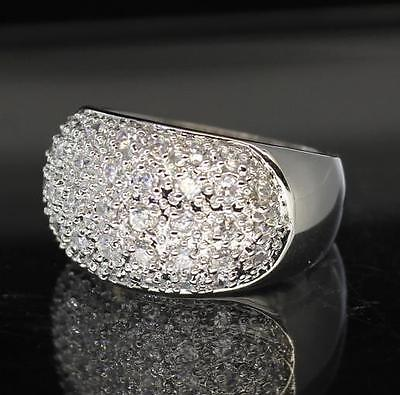 Band Silver Tone Ring - Cluster Cz Band Silver Tone Prong Set Bling Unisex Pinky Classy Ring