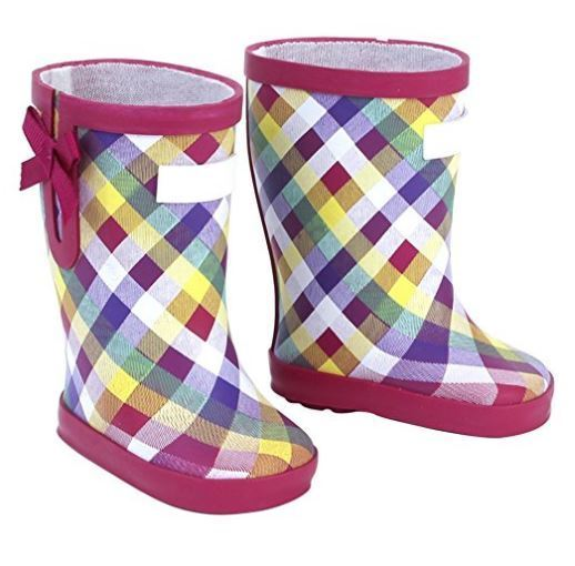 "Lovvbugg Plaid Wellies Rain Boots for 18"" American Girl or Baby Doll Shoes"