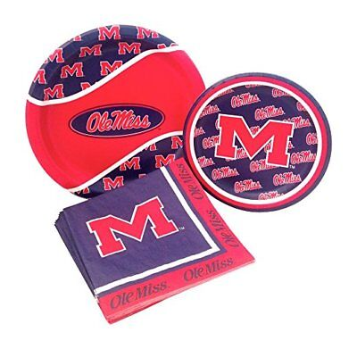 University of Mississippi Rebels Ole Miss Party Paper Plates Napkins For 8 - Ole Miss Party Supplies