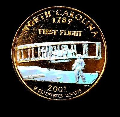 Carolina State Quarter Coin (2001-D North Carolina State Quarter // 24K GOLD PLATED + HOLOGRAM! // 1 Coin. )