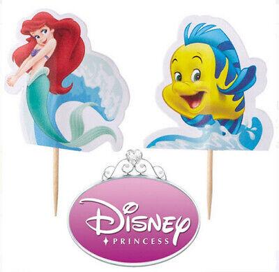 ARIEL Little Mermaid & Flounder Happy Birthday party CUPCAKE PICKS 24 toppers