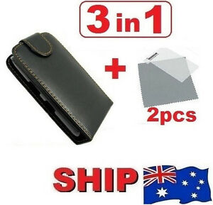 Flip Leather Case Magnet Cover + 2 Screen Protector for Apple iPhone 3GS 3G S